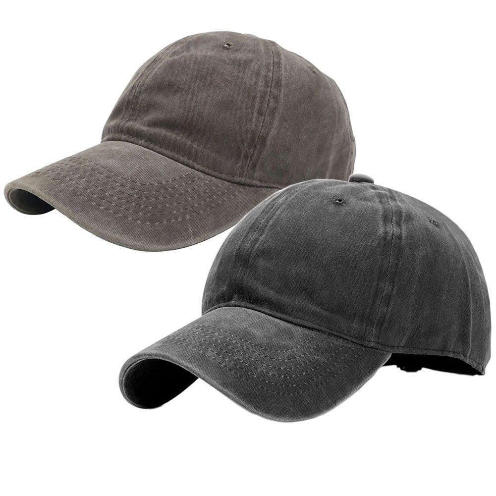 1545cc287aeb6 Wash Cotton Hats Solid Adjustable Plain Baseball Caps at Amazon Men s  Clothing store