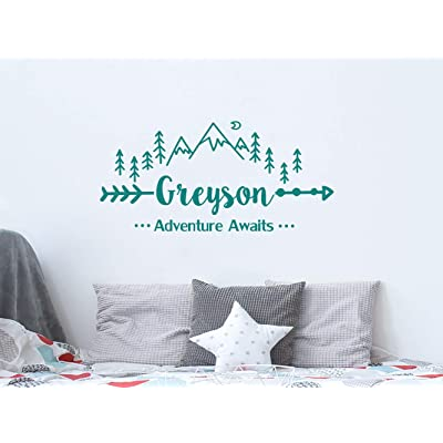 StylewithDecals Wall Decal Boys Name Adventure Awaits Arrow Vinyl Stickers Personalized Name Mountain Nursery Bedroom Kids Custom Name C681: Home & Kitchen
