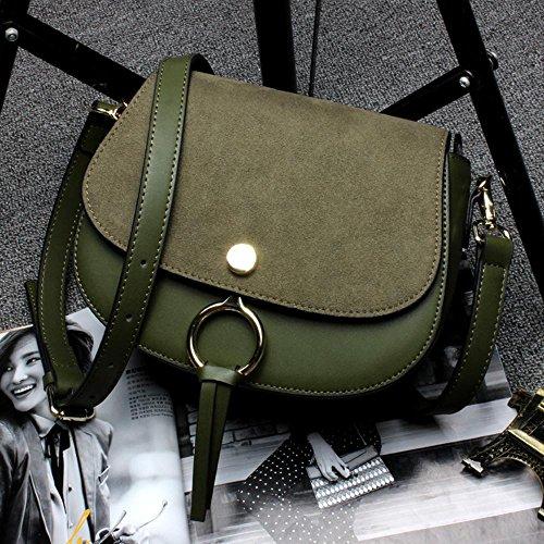 Aoligei Fashion tendance cuir fille sac star avec selle sac gommage cuir anneau unique messenger sac en bandoulière D