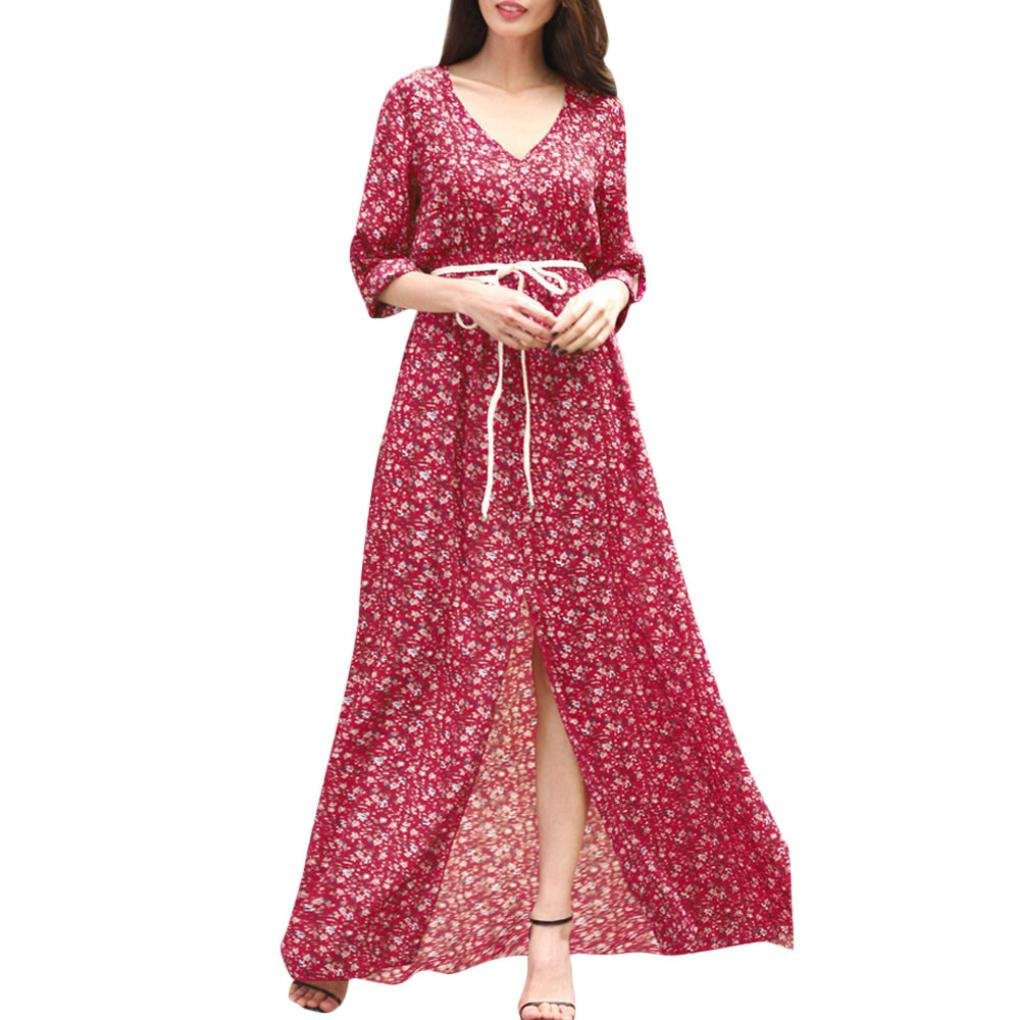 Scaling❤ Women Dress,Womens Floral Printed Boho Ethnic Swings Long Sleeve Maxi Dress with Belt Evening Party (Red, S)
