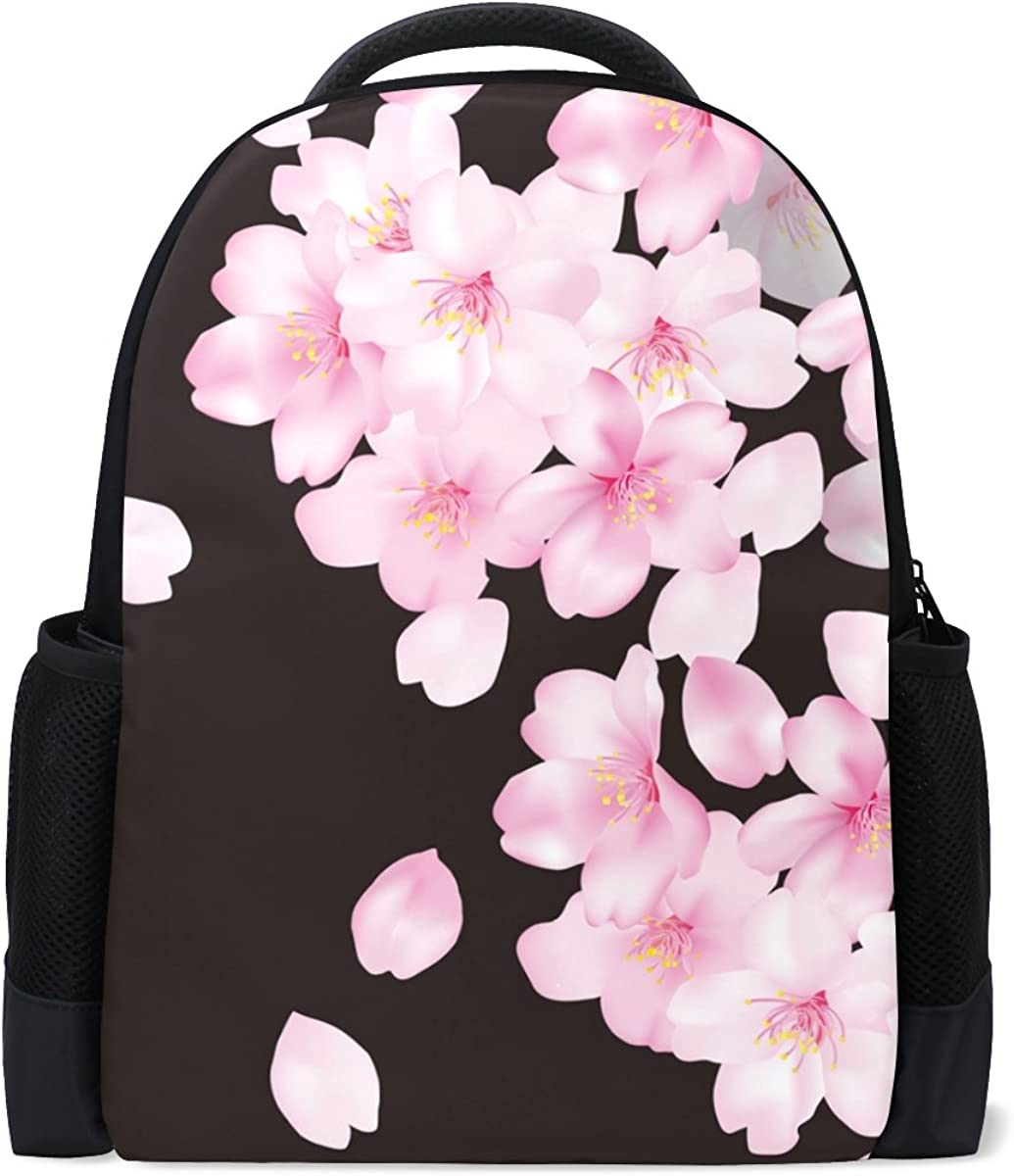 FAJRO Beautiful Flowers Black and White Chevron Travel Backpack Carry On School Pack