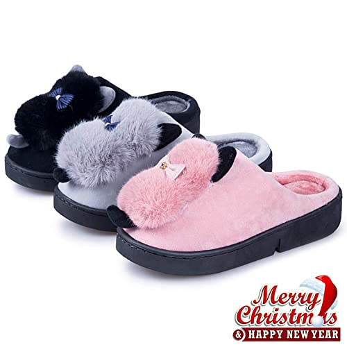 bf9790524188f Womens Warm Slippers Faux Fur - Indoor Suede Slip On Shoes Comfort Fuzzy  House Slippers Memory Foam Pink