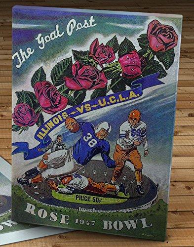 - 1947 Vintage Rose Bowl - UCLA Bruins - Illinois Fighting Illini Football Program - Canvas Gallery Wrap - 12 x 16