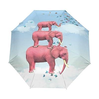 EnnE Umbrella Elephant Folding Compact Travel Umbrella Rain Windproof Easy Carrying