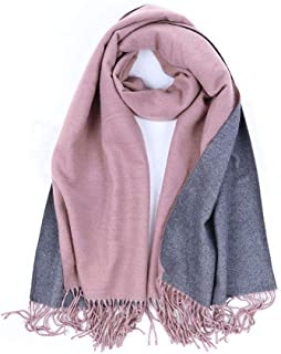 Sobibo Women's Fall Winter Contrast Scarf, Stylish Warm Soft Chunky Large Blanket Wrap Shawl Scarves