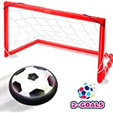 Toyk Kids Toys - LED Hover Soccer Ball Set 2 Goals Mini Screwdriver - Air Power Training Ball Playing Football Game - Soccer Toys 1 2 3 4 5 6 7 8 9 10 11 12 Year Old Boys Girls Best Gift