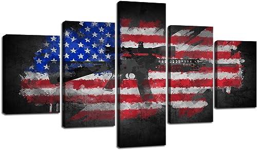 Modern American Flag Canvas Wall Art USA Flag