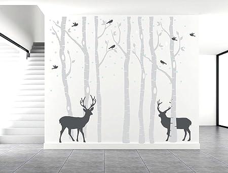BDECOLL Set Of 7 Birch Tree Wall Decals, Deer Wall Stickers, Birds Home  Decor