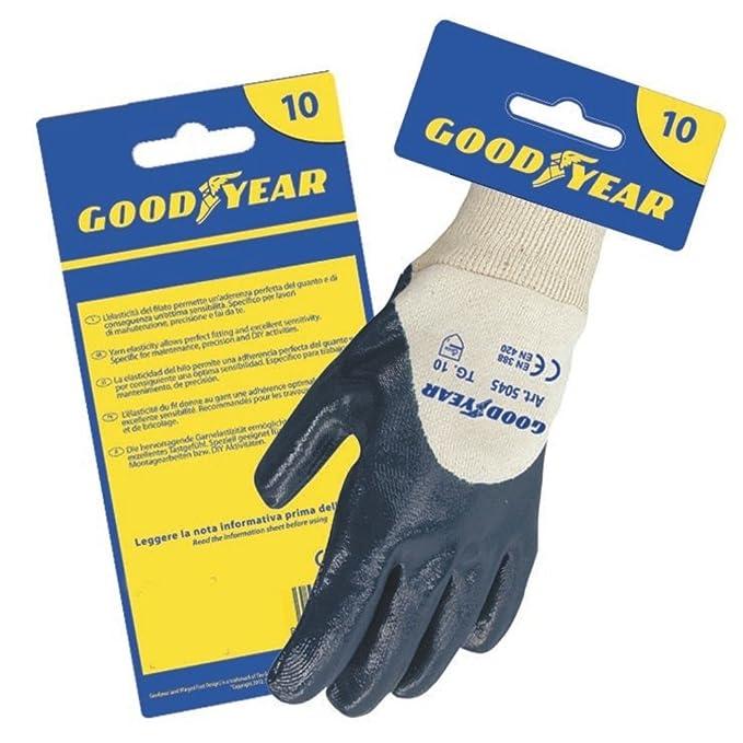 Guanti in nitrile Goodyear in maglia bianca di cotone dorso aerato e  felpato internamente taglia 10  Amazon.it  Fai da te 0f3ec5c903fe