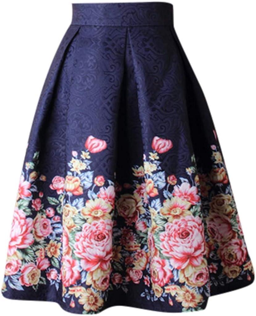 Momoxi Donna Moda Cocktail Estate Anni 50 Annata a Pieghe Gonne Media Lunghezza Eleganti Ruota Vita Alta Stampa Floreale Rockabilly Skirt