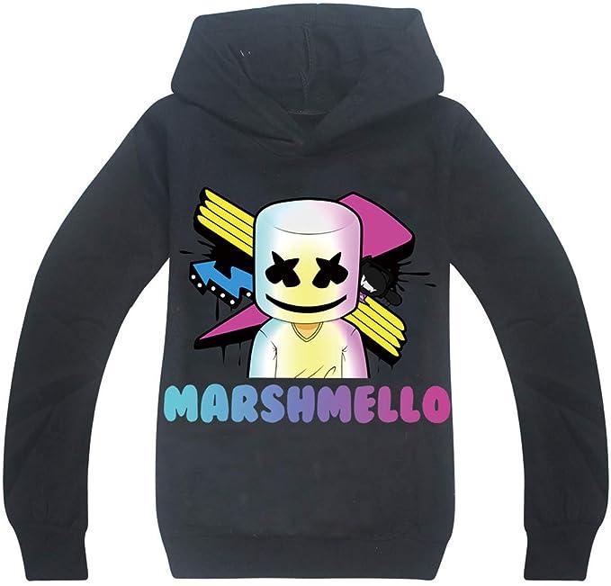 EMILYLE Niños Marshmello DJ Sudadera con Capucha Infantil Chula120cm,1 Negro Cubo