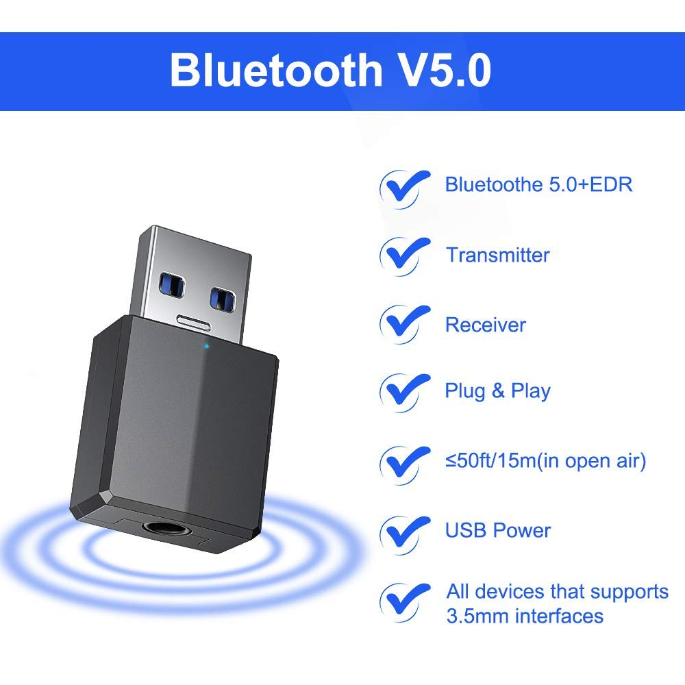 USB/Just/For Power) Black Bluetooth Adapter,Bluetooth USB Adapter,Bluetooth Adapter Receiver 5.0 USB Dongle Hi-fi,Bluetooth Transmitter with 3.5mm Digital Audio for PC//Home//Headphones//TV//Car