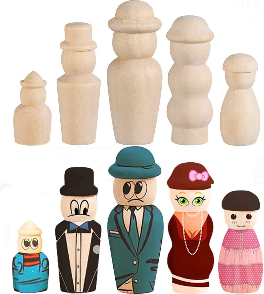 50* Wooden Peg Dolls Unfinished People DIY Doll Kids Painting Craft Art Projects