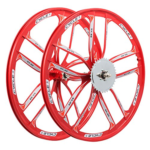 BBR Tuning 26 Inch Heavy Duty 10 Spoke Star Motorized Bike Disc Brake Mag Wheel Set for Beach Cruisers, MTB's, and Gas Powered Bicycles (Red)