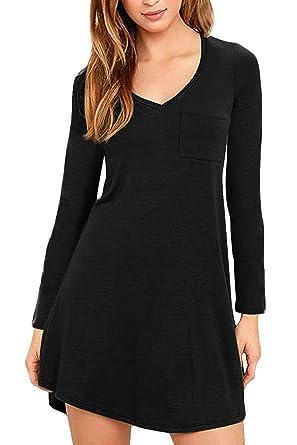 f30801318146 Eanklosco Womens Casual Short Sleeve Plain Pocket V Neck T Shirt Tunic Dress  (Black-