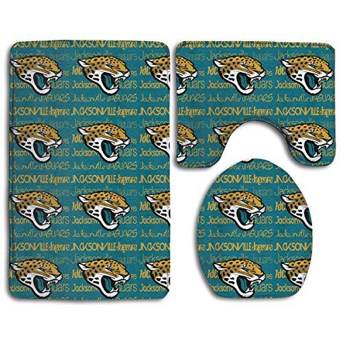 Weckim Jacksonville Jaguars Anti-Skid Lock Water Quick-Dry Bathroom Anti-Skid Three-Piece Set