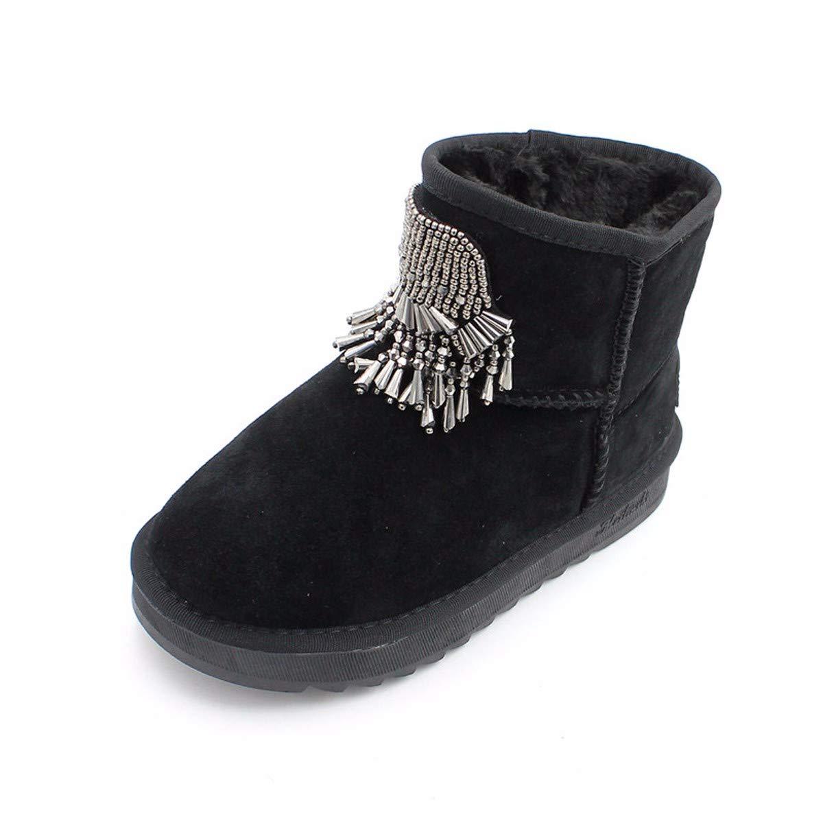 LBTSQ Fashion Damenschuhe Perlen Quasten Heel 2Cm Stiefeln Boden Leder Runden Kopf Flachen Boden Samt Winter Stiefel