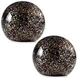 "Glitter 4"" Black and Gold Glass Ball Paperweights, Pack of Two (Bundle)"