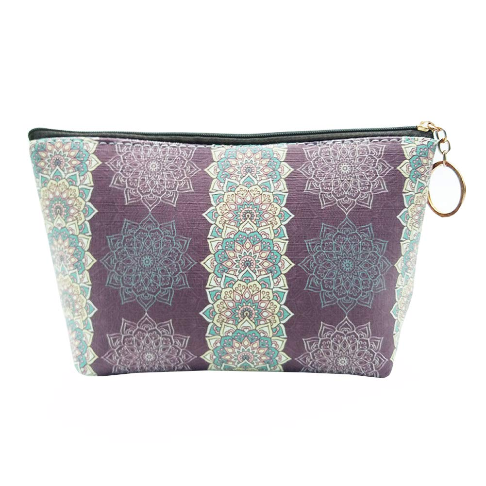 HOYOFO Women's Travel Cosmetic Bags Small PU Makeup Clutch Pouch Toiletries Organizer Bag with Mandala Flower Patterns, Stripes