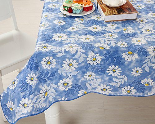 Uforme French Country Style Table Cloth Oil Proof Flannel Romantic Blosom Table Cover Print PVC Eco-friendly, 60 Inch By 102 Inch, Light Blue/Yellow/White