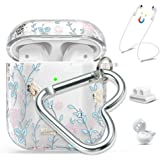 Queenxbar Airpods Case Cover, Clear Hard PC Airpods Cover Sparkle Crystals from Swarovski with AirPods Strap/Ear Hook/Watch Band Holder/Heart-Shaped Carabiner for Airpods 1 & 2(Front LED Visible)