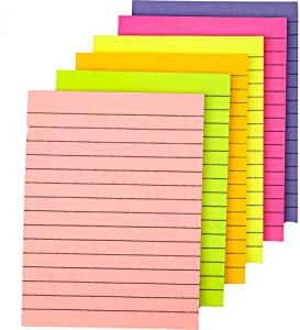 "6-Pack Sticky Notes Colorful Lined Post Memos 4"" x 6"", Removable Self Sticky Notes Pad for Office,Home,School, 50 Sheet"
