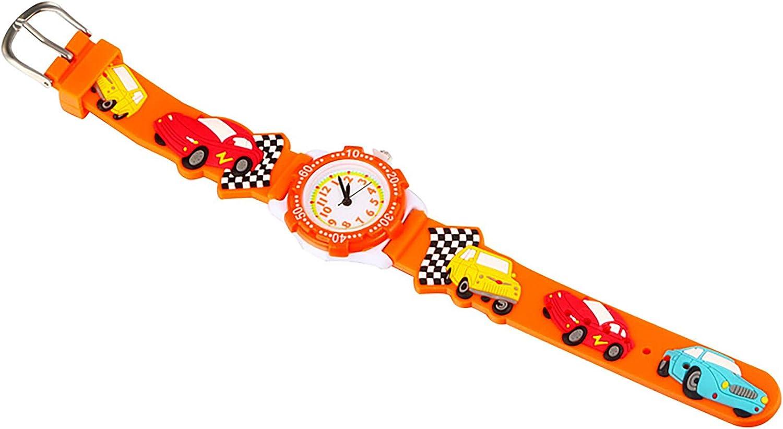 pour Tout-Petits Enfants Enfants Montre, 3D Mignon Dessin animé en Silicone Band Montres Temps Professeur Montres de Cadeaux pour Enfants Filles Tout-Petits Car-orange