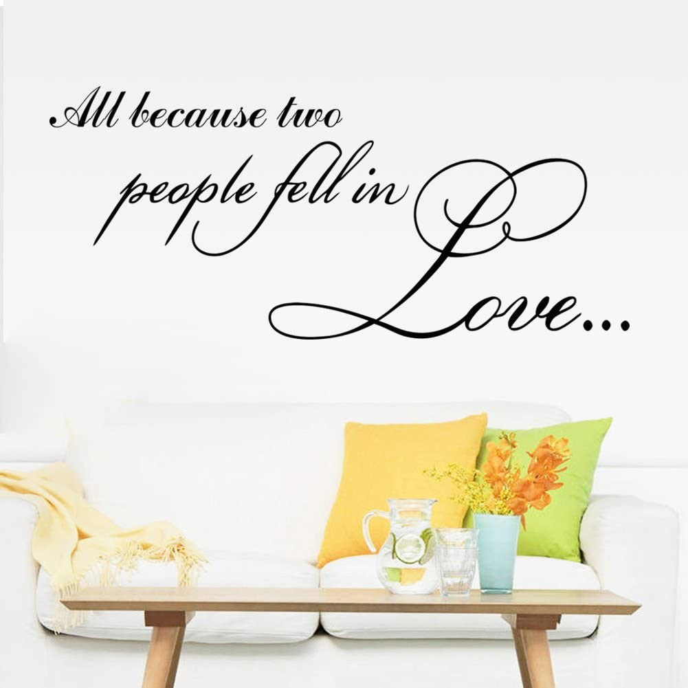 All Because Two People Fell in Love Vinyl Lettering Wall Stickers Quotes Wall Decal for Home Art Decor