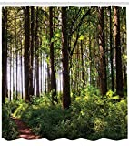 "Ambesonne Forest Shower Curtain, Pathway in a Shady Forest of Bushes and Thick Trunks Grass Unique Wild Life Scenery, Cloth Fabric Bathroom Decor Set with Hooks, 84"" Long Extra, Green Brown"