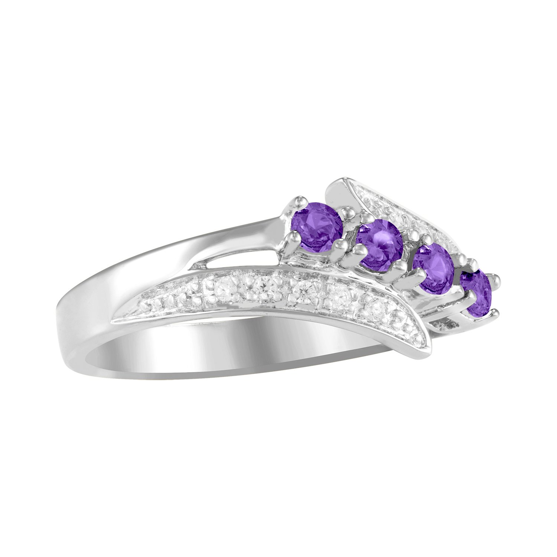 ArtCarved Starlight Custom Simulated Birthstone Women s Ring, Sterling Silver