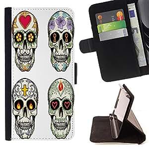 Skull Market - FOR Samsung Galaxy S3 MINI 8190 - ?hard work to give off - Caja de la carpeta del tirš®n del cuero de la PU [con ranuras para tarjetas y cierre de solapa magnšŠtica] Pš¢rese cubierta de la caja