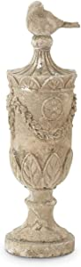 K&K Interiors 14408A 17.5 Inch Urn Finial with Bird On Top, 100% Resin