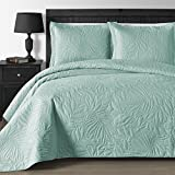 Comfy Bedding Extra Lightweight and Oversized Thermal Pressing Leafage 3-piece Coverlet Set (King/Cal King, Bright Tourquoise)
