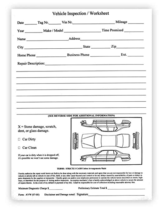 Amazon Com Vehicle Inspection Worksheet Car Dealer Service Body