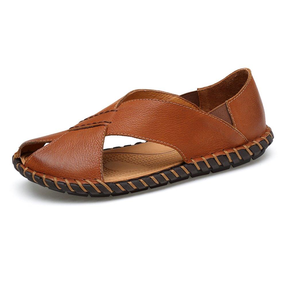 Juans-shoes, Zapatos para hombre Zapatillas de playa de cuero genuino de piel de vaca de los hombres Zapatillas de deporte ocasionales antideslizantes Sandalias de suela (Color : Brown, Size : 42 EU) 42 EU Brown