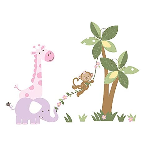 Babies r us kids line girls monkey wall decals safari jungle elephant giraffe pink