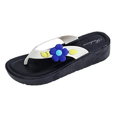 Inverlee Women Summer Flowers Cool Trailers Soft Slippers Beach Flip Flops Shoes