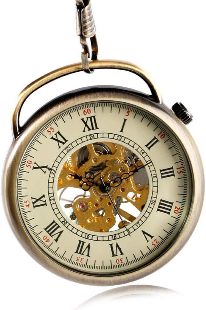 SDVIB Reloj de Bolsillo Reloj de Bolsillo de Moda Mecánico de Mano Viento Reloj de Esqueleto con Mango Especial Elegante clásico Steampunk Mujeres Hombres Cadena