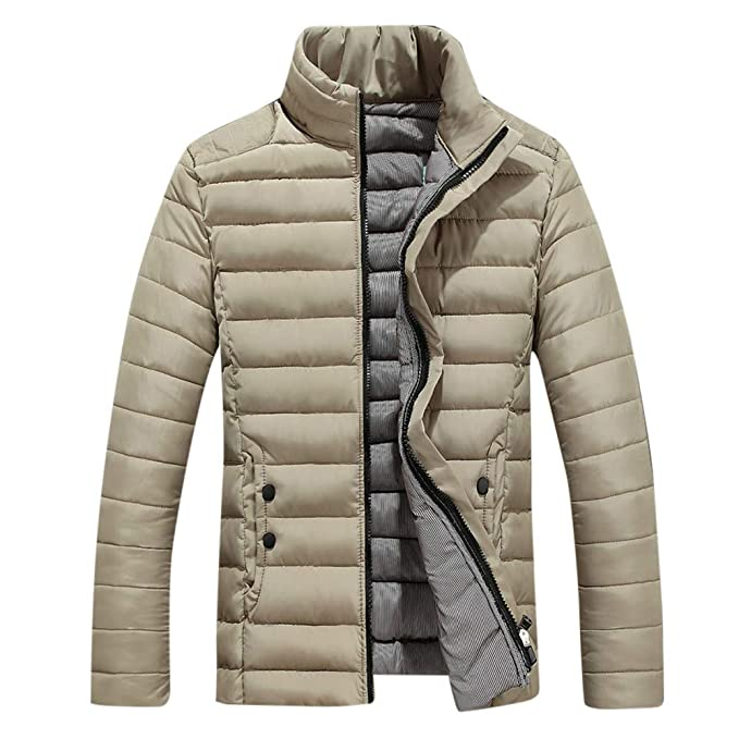 Longra ☂☂ ☂☂ ☂☂ ☂☂ ☂☂ ☂☂ ☂☂ ☂☂ ☂☂ ☂☂ ☂☂❤ ❤ Parka para Hombre Chaqueta Hombre, Color sólido Stand Collar Zipper Casual Coat: ...