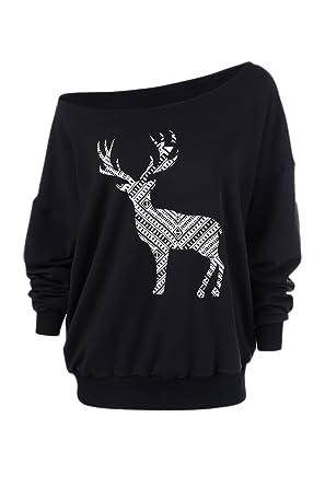 a270e34084b Yacun Women s Long Sleeve Off Shoulder Christmas Sweatshirt Casual T-Shirt  Tops  Amazon.co.uk  Clothing