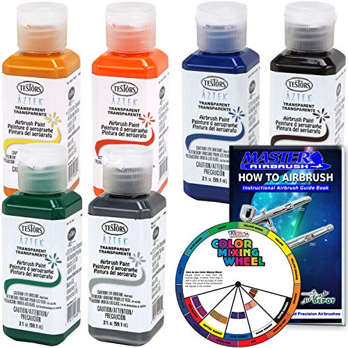6 Color - Testors Aztek Premium Transparent Acrylic Airbrush Paint Set with Color Mixing Wheel and How to Airbrush Manual