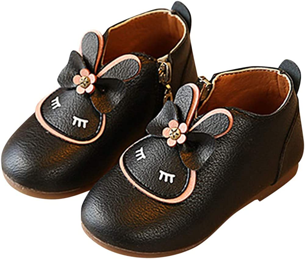 Foncircle Fashion Cartoon Baby Girls Pricness Shoes Rabbit Bow Zipper Short Boots