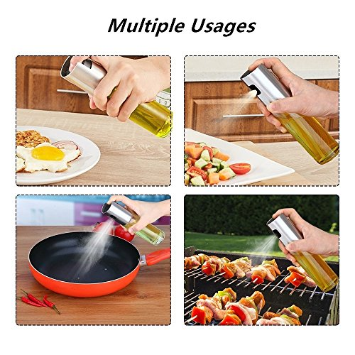 Oil Sprayer for Cooking Olive Oil Sprayer Glass Bottle Kitchen Oil/Vinegar Dispenser with Cleaning Brush for BBQ, Cooking, Grilling, Baking, Frying 100ML/3.4oz by B-hero (Image #3)