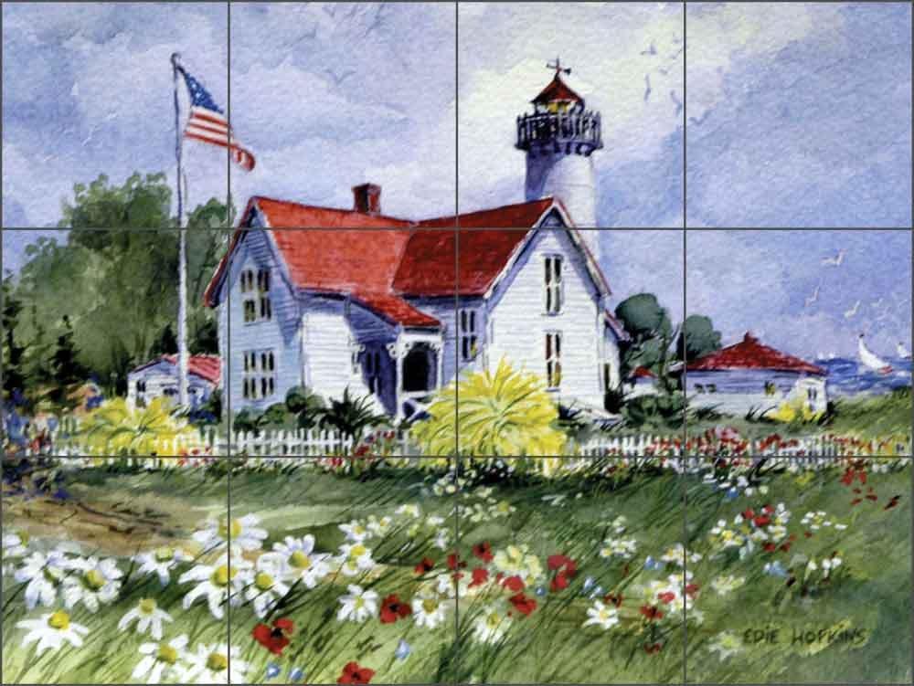 Ceramic Tile Mural Backsplash - Lighthouse Art - Martha's Vineyard by Edie Hopkins - Kitchen Bathroom Shower (32'' x 24'' - 8'' Tiles)