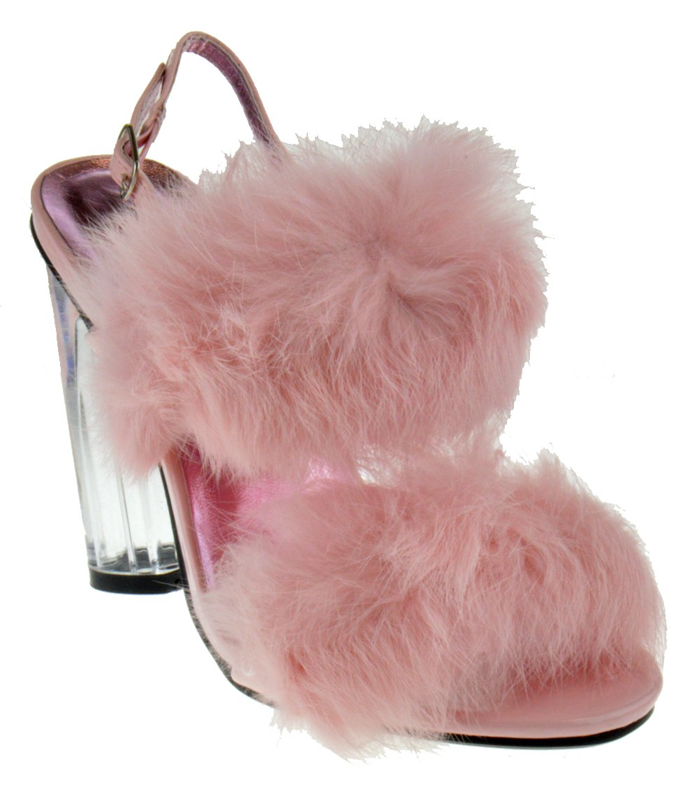Foever Create 88 Womens Clear Chunky Heel Furry Strapped Lucite Sandals Pink 10
