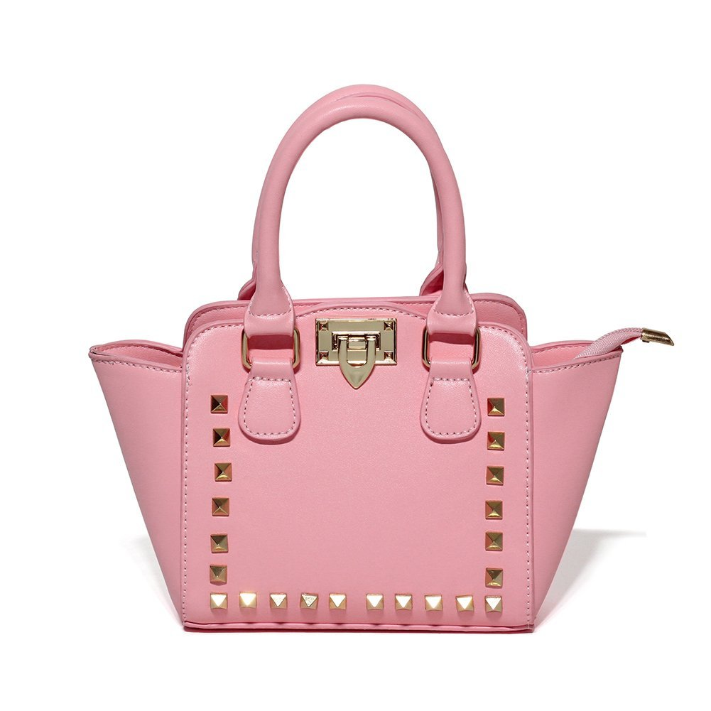 CMK Trendy Kids Little Girls Studded Purse Handbags for Toddler Kids Tote Child Shoulder Bag (80003_Pink)