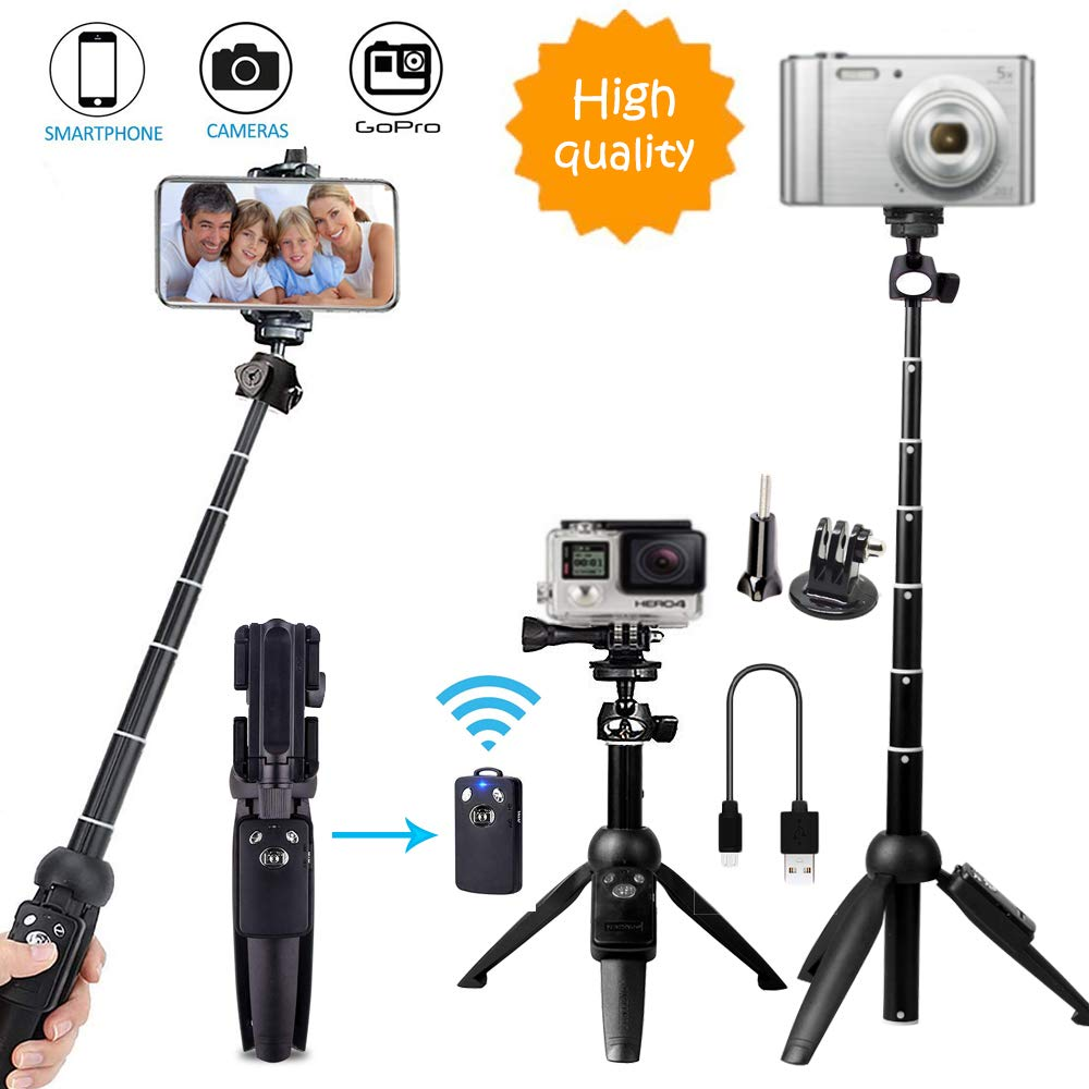 Bluehorn 3 in 1 Portable 40 Inch Bluetooth, Extendable Wireless Aluminum Alloy Remote Tripod Stand Selfie Stick for Gopro Camera iPhone Xs MAX/XR/iPhone 8 Plus/iPhone 7 Plus/Galaxy Note 8/S9/S9 Plus/ Antenna international