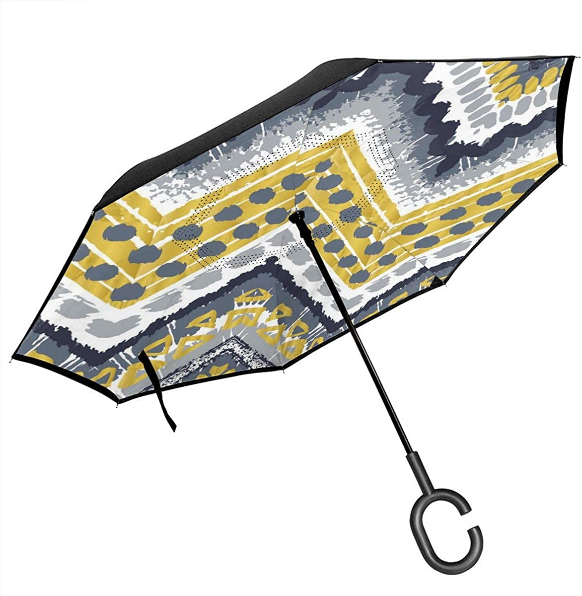 Tribal Ethnic Seamless Pattern Reverse Umbrella Double Layer Inverted Umbrellas For Car Rain Outdoor With C-Shaped Handle Customized