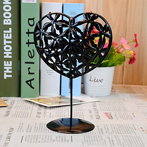 Black LiveOut Heart Shaped Metal Table Candle Lantern with Rose Scented Tealight Candles