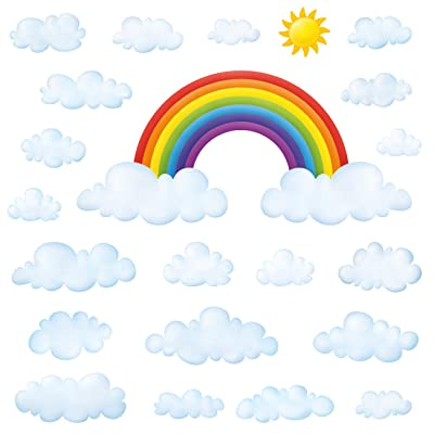 DECOWALL DA-1713P1702 Rainbow and Clouds Kids Wall Stickers Wall Decals Peel and Stick Removable Wall Stickers for Kids Nursery Bedroom Living Room: Home & Kitchen